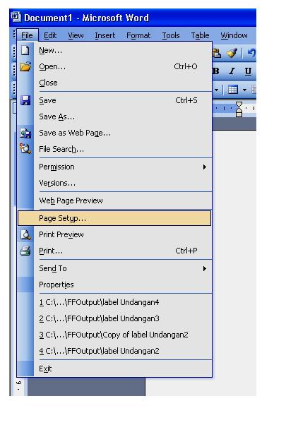 Setelah itu klik tab margins pada kotak dialog top, left, right
