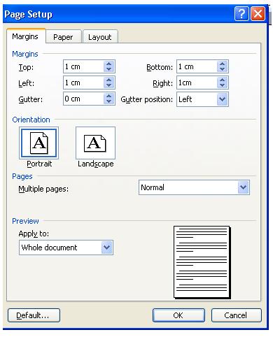 Klik tab paper pada kotak dialog width tulis : 19.8cm , height : 13 ...